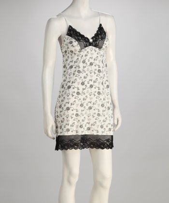 Black & White Lace-Trim Chemise