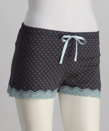 Dark Blue Lace-Trim Boxers