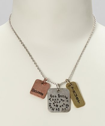 Silver & Gold 'God Doesn't Give Us More Than' Pendant Necklace