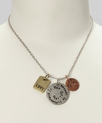 Silver & Gold 'Nothing Is Impossible...' Pendant Necklace