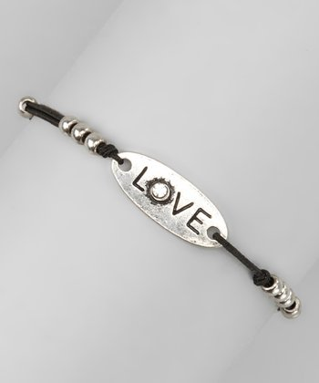 Silver 'Love' Beaded Leather Cord Bracelet