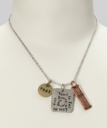 Silver & Gold 'Trust in the Lord' Pendant Necklace