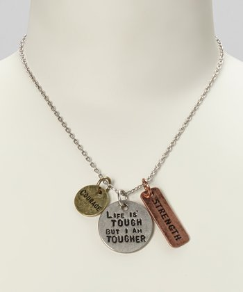 Silver & Gold 'Life Is Tough, But I Am Tougher' Pendant Necklace