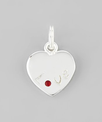 Silver & Red Rhinestone 'Love' Heart Charm