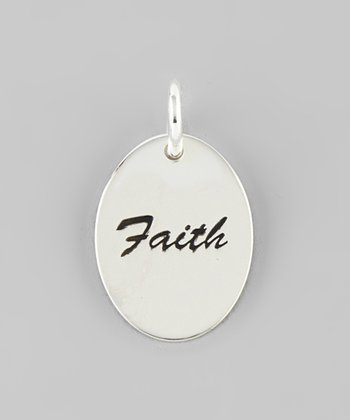 Silver 'Faith' Disc Charm