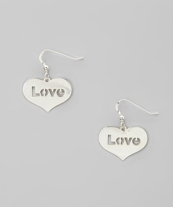 Silver 'Love' Cutout Heart Earrings