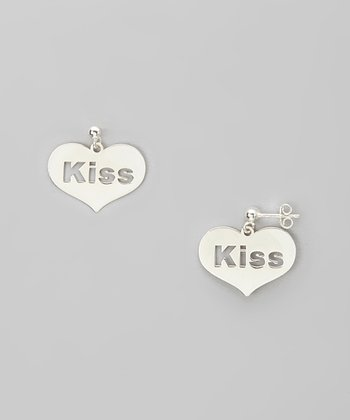 Silver 'Kiss' Cutout Heart Earrings