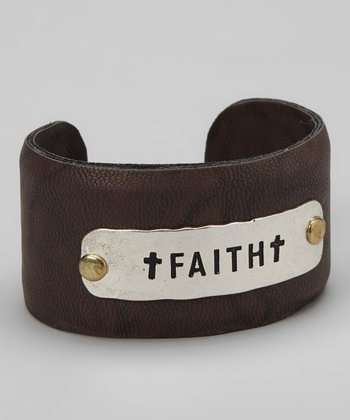 Silver & Brown 'Faith' Cuff