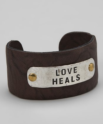 Silver & Brown 'Love Heals' Cuff