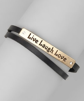 Gold & Black 'Live Laugh Love' Wrap Bracelet