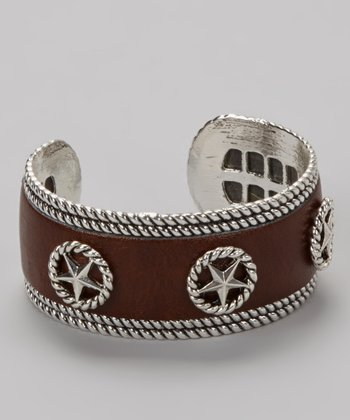 Silver & Brown Star Leather Cuff