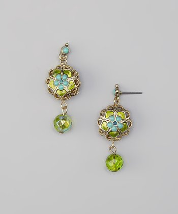 Green Floral Earrings