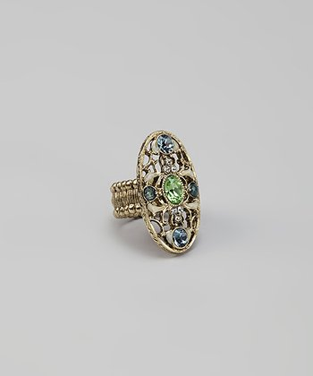 Brass & Green Ornate Adjustable Ring