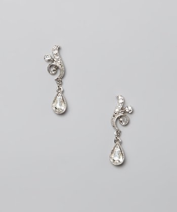 Crystal & Silver Teardrop Earrings