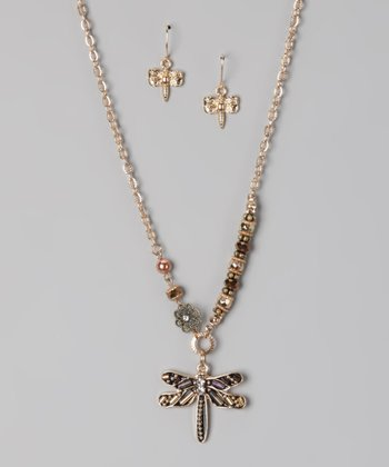Gold Bling Dragonfly Necklace & Earrings