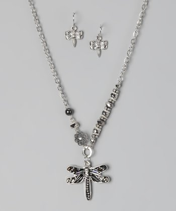 Silver Bling Dragonfly Necklace & Earrings