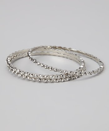 Crystal & Silver Bangle Set