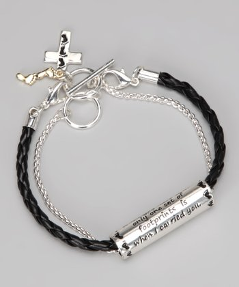 Black & Silver Footprints Toggle Bracelet