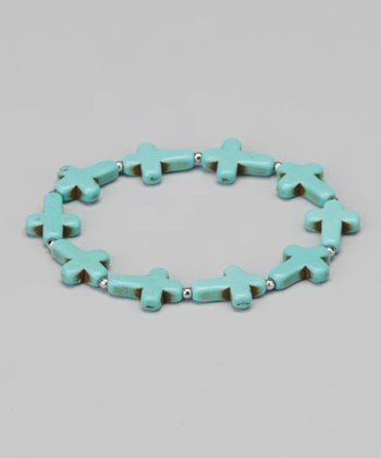 Turquoise Small Cross Stretch Bracelet