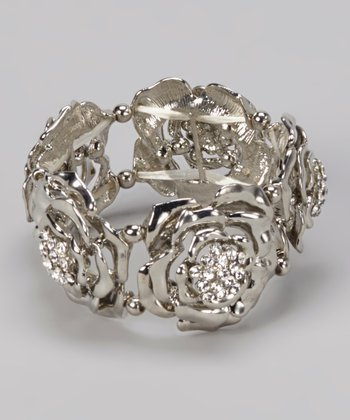 Silver Bling Rose Stretch Bracelet