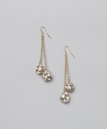 Crystal & Gold Ball Earrings