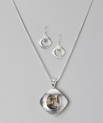 Silver Two-Tone Lord's Prayer Necklace & Earrings