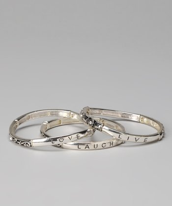 Silver Live Laugh Love Stretch Bangle Set