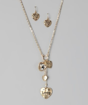 Gold Love Heart Bling Necklace & Earrings