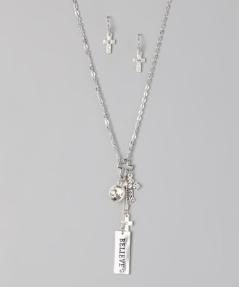 Silver 'Believe' Cross Necklace & Earrings