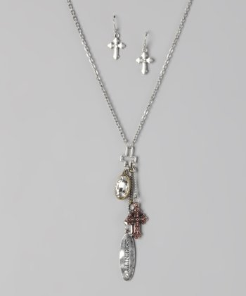 Metallic 'Serenity' Cross Necklace & Earrings