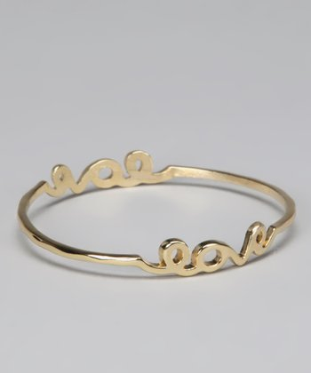 Gold 'Love' Bangle