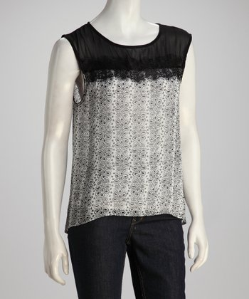 Black & White Sheer Lace Tank