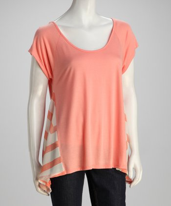Pink Sheer Side Panel Sidetail Top