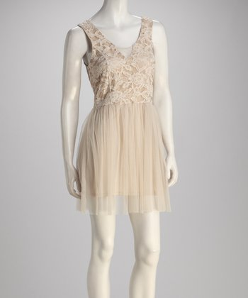 Nude & Cream Lace Dress