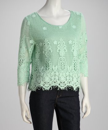 Mint Crocheted Top