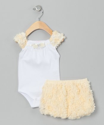 Yellow Bodysuit & Rosette Shorts