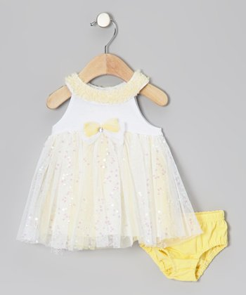Yellow Sequin Yoke Dress & Diaper Cover - Infant