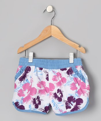 Pink Flower Swim Shorts - Girls
