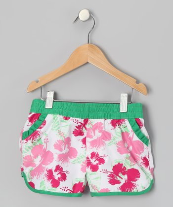 Rose Flower Swim Shorts - Girls