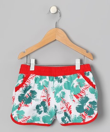 Teal Flower Swim Shorts - Girls