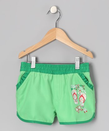 Lime 'Sunny Love' Swim Shorts - Girls