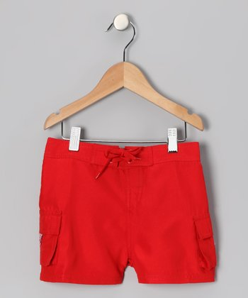 Red Carla Boardshorts - Girls