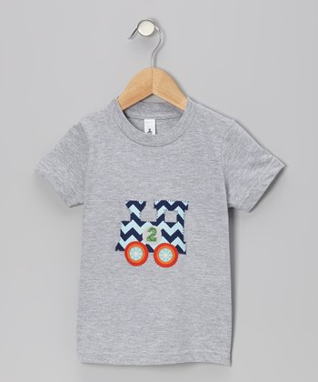 Heather Gray Personalized Number Train Tee - Toddler & Boys