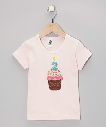 Light Pink Personalized Number Cupcake Tee - Infant & Toddler