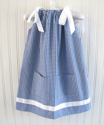 Blue Gingham Ribbon Swing Dress - Toddler & Girls