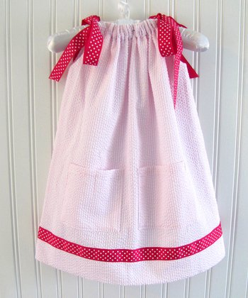Pink Seersucker Ribbon Swing Dress - Infant, Toddler & Girls