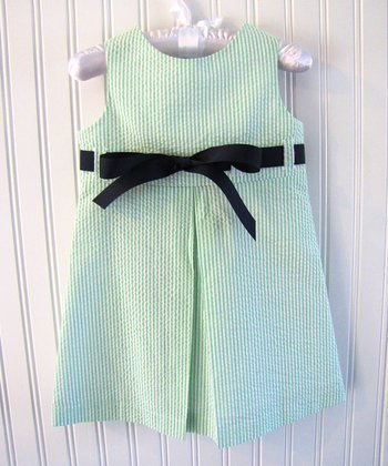 Green & Navy Seersucker Ribbon Jumper - Infant, Toddler & Girls