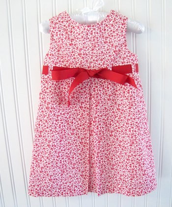 Red Floral Ribbon Jumper - Infant, Toddler & Girls