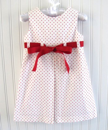 Red Polka Dot Ribbon Jumper - Toddler & Girls
