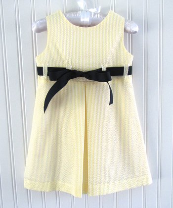 Yellow & Navy Seersucker Ribbon Jumper - Infant & Toddler